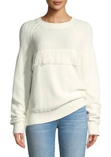 FRAME Fringe Cotton Crewneck Sweater