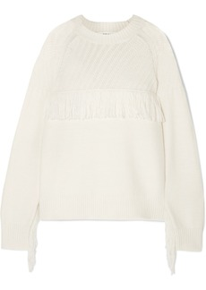 FRAME Fringed Cotton-blend Sweater