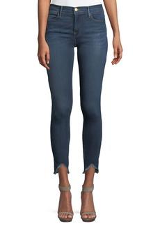 FRAME High-Rise Skinny Jeans w/ Triangle Hem