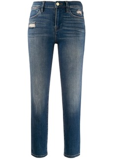 FRAME high rise stonewashed skinny jeans