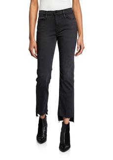 FRAME High-Rise Straight Raw-Edge Pants