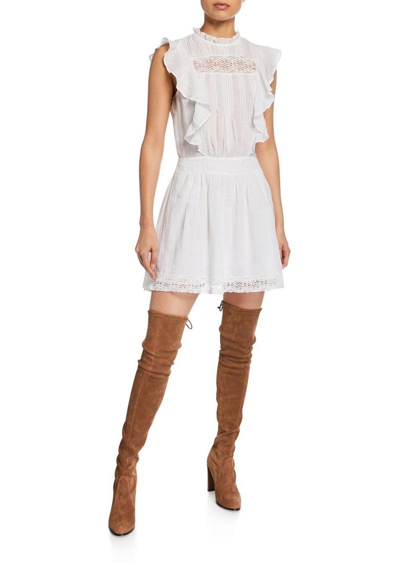 FRAME Lace Pintuck Short Dress with Ruffles