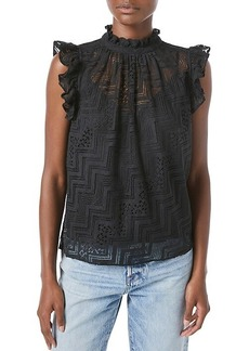 FRAME Lace Ruffle Top