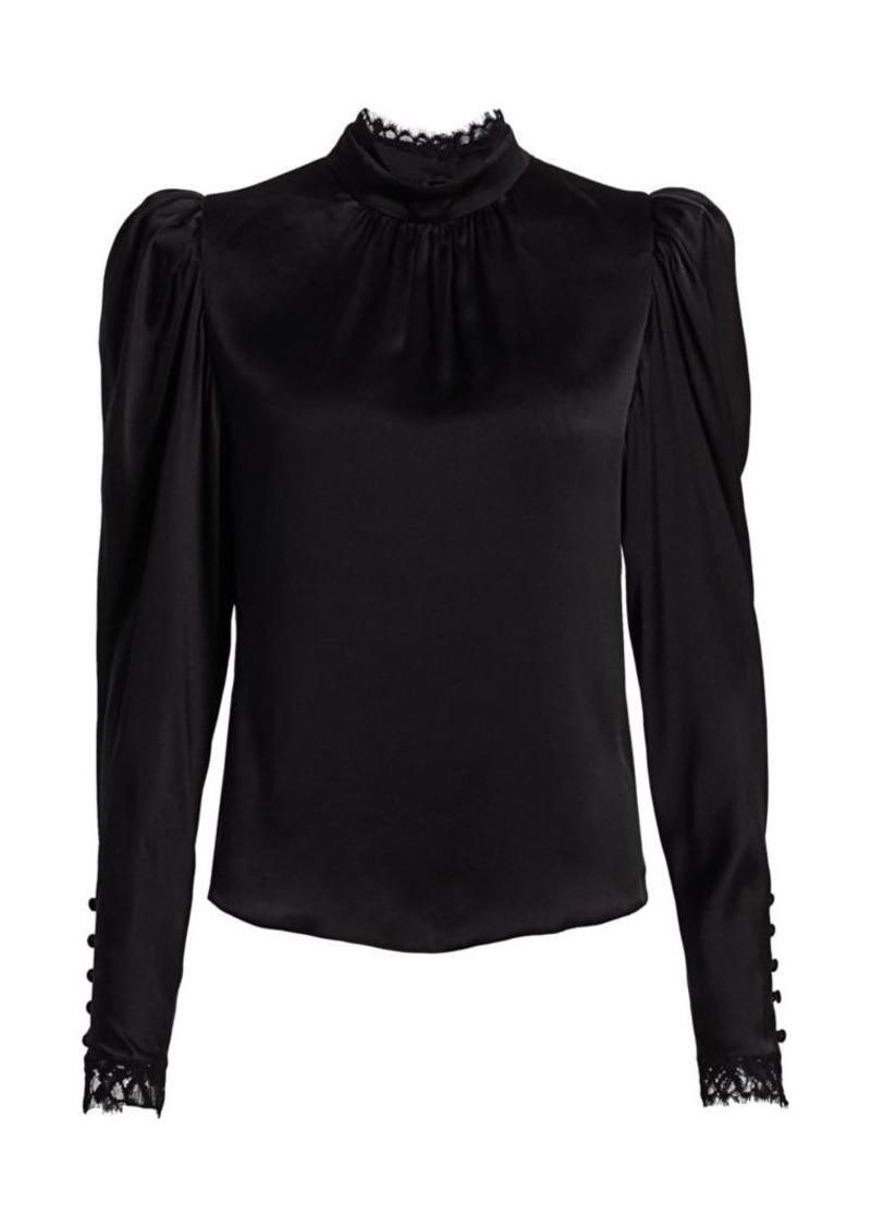 FRAME Lace-Trim Puff-Sleeve Silk Top