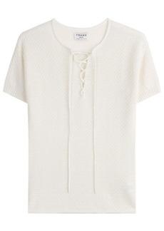 FRAME Lace Up Cotton-Blend Top