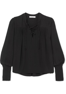 FRAME Lace-up Crepe Blouse