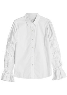 FRAME Lace Up Sleeve Cotton Shirt