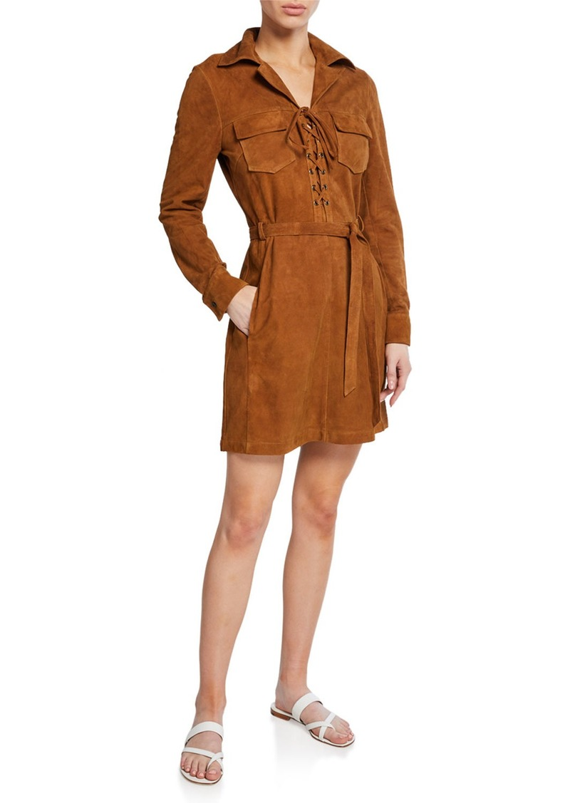 FRAME Lace-Up Suede Long-Sleeve Shirtdress