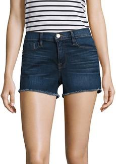 FRAME Le Cut Off Mid-Rise Fitted Raw Hem Denim Shorts