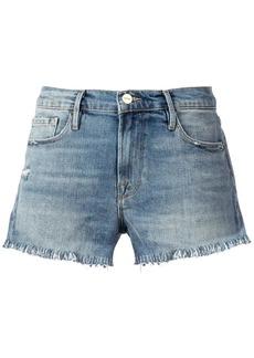 FRAME Le Cut Off Shredded Raw denim shorts