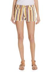 FRAME Le Cutoff Denim Shorts (Painterly Stripe)