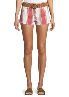 FRAME Le Cutoff Slit Striped Denim Shorts