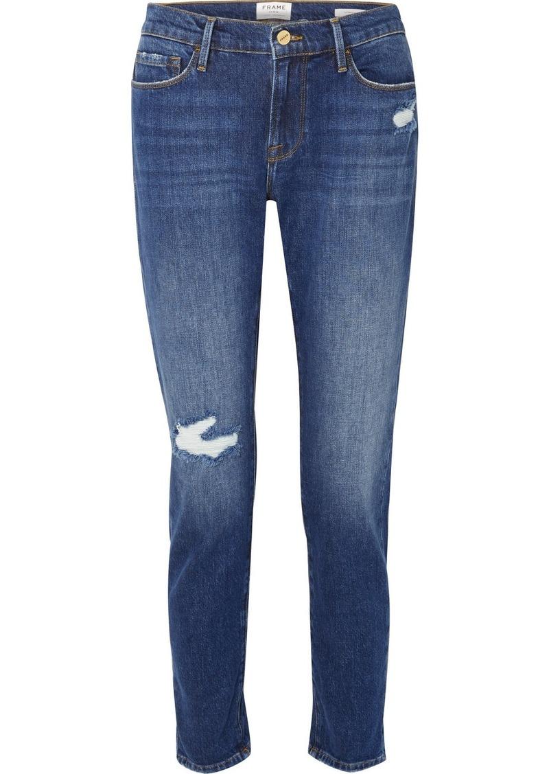 FRAME Le Garcon Distressed Slim Boyfriend Jeans