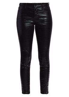 FRAME Le High Crop Skinny Coated Croc-Embossed Jeans
