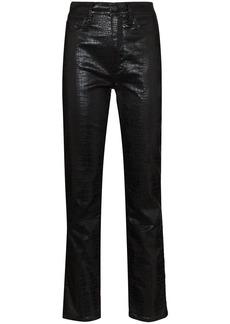 FRAME Le High crocodile-effect trousers