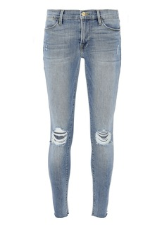 FRAME Le High Distressed Crop Skinny Jeans