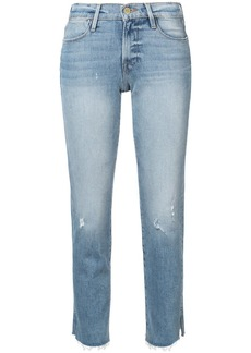 FRAME Le High raw edge slit rivet jeans