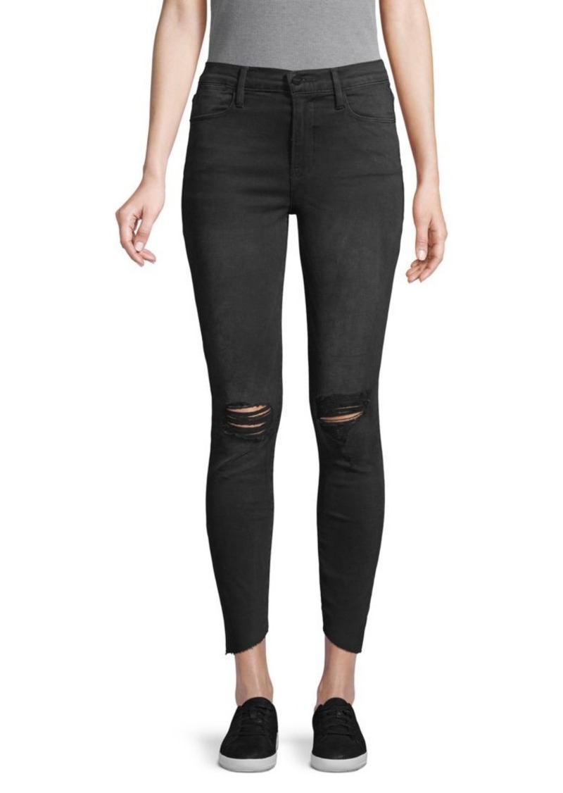 FRAME Le High Ripped Knee Skinny Jeans