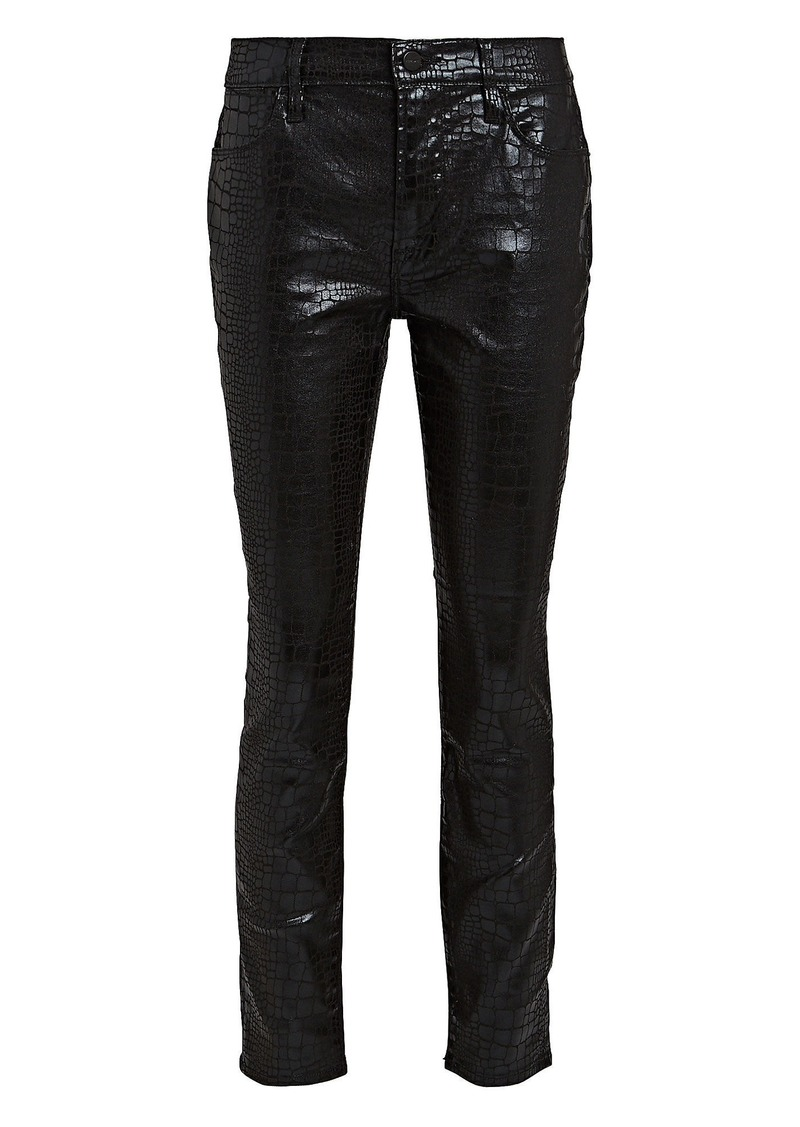 FRAME Le High Skinny Croc-Embossed Jeans