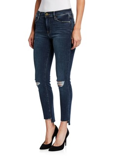 FRAME Le High Skinny Distressed Raw Stagger Hem Jeans