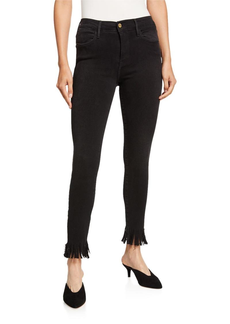 FRAME Le High Skinny Fringe Jeans