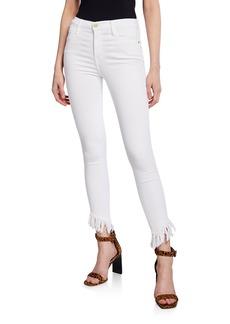 FRAME Le High Skinny Jeans w/ Shredded Raw Hem