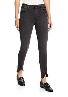 FRAME Le High Skinny Jeans with Frayed Tulip Hem