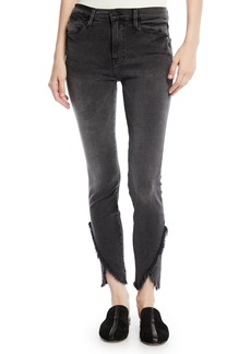 FRAME Le High Skinny Jeans with Frayed Tulip Hem