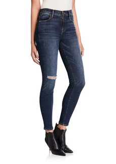 FRAME Le High Skinny Jeans with Lightly Distressed Pockets