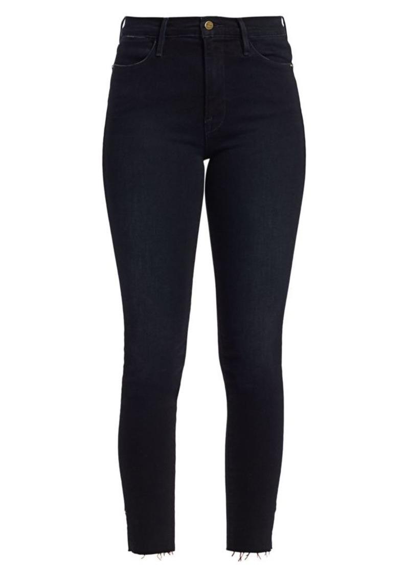 FRAME Le High Skinny Rivet & Slit Cropped Jeans