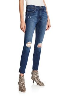 FRAME Le High Skinny RV Slit-Hem Jeans with Ripped Knees