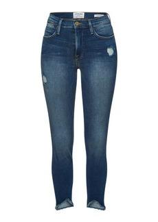 FRAME Le High Skinny Triangle Raw Hem Cropped Jeans