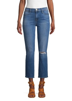 FRAME Le High Straight Cropped & Ripped Jeans