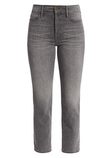 FRAME Le High Straight-Leg Foil Tuxedo Stripe Jeans