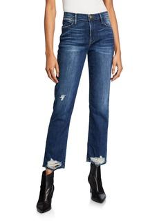FRAME Le High Straight-Leg Distressed Hem Jeans