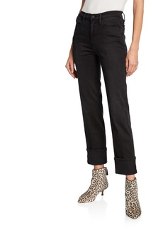 FRAME Le High Straight Reverse-Cuff Jeans