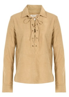 FRAME Le Lace-Up Suede Top