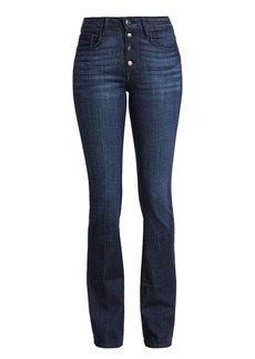 FRAME Le Mini High-Rise Bootcut Exposed Button Jeans