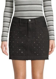 FRAME Le Mini Embellished Denim Skirt