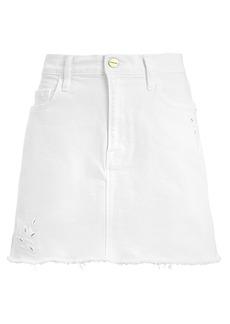 FRAME Le Mini Foliage Embroidered Denim Skirt