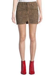 FRAME Le Mini Frayed Split-Front Denim Skirt