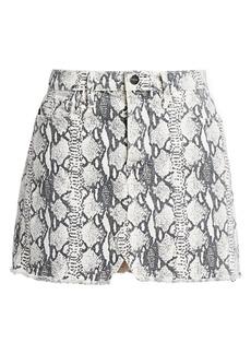 FRAME Le Mini Python-Print Skirt