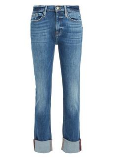FRAME Le Nik Cuffed Straight-Leg Jeans