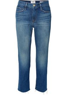 FRAME Le Nouveau Cropped Frayed Straight-leg Jeans