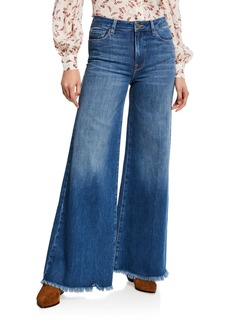 FRAME Le Palazzo Raw-Edge Flare Jeans