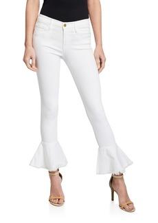 FRAME Le Skinny de Jeanne Flounce Ankle Jeans with  Raw-Edge Hem