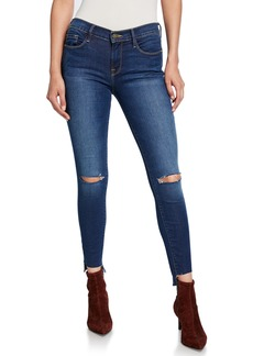 FRAME Le Skinny de Jeanne Raw Stagger-Hem Distressed Jeans