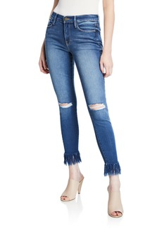 FRAME Le Skinny De Jeanne with Shredded Hem & Ripped Knees