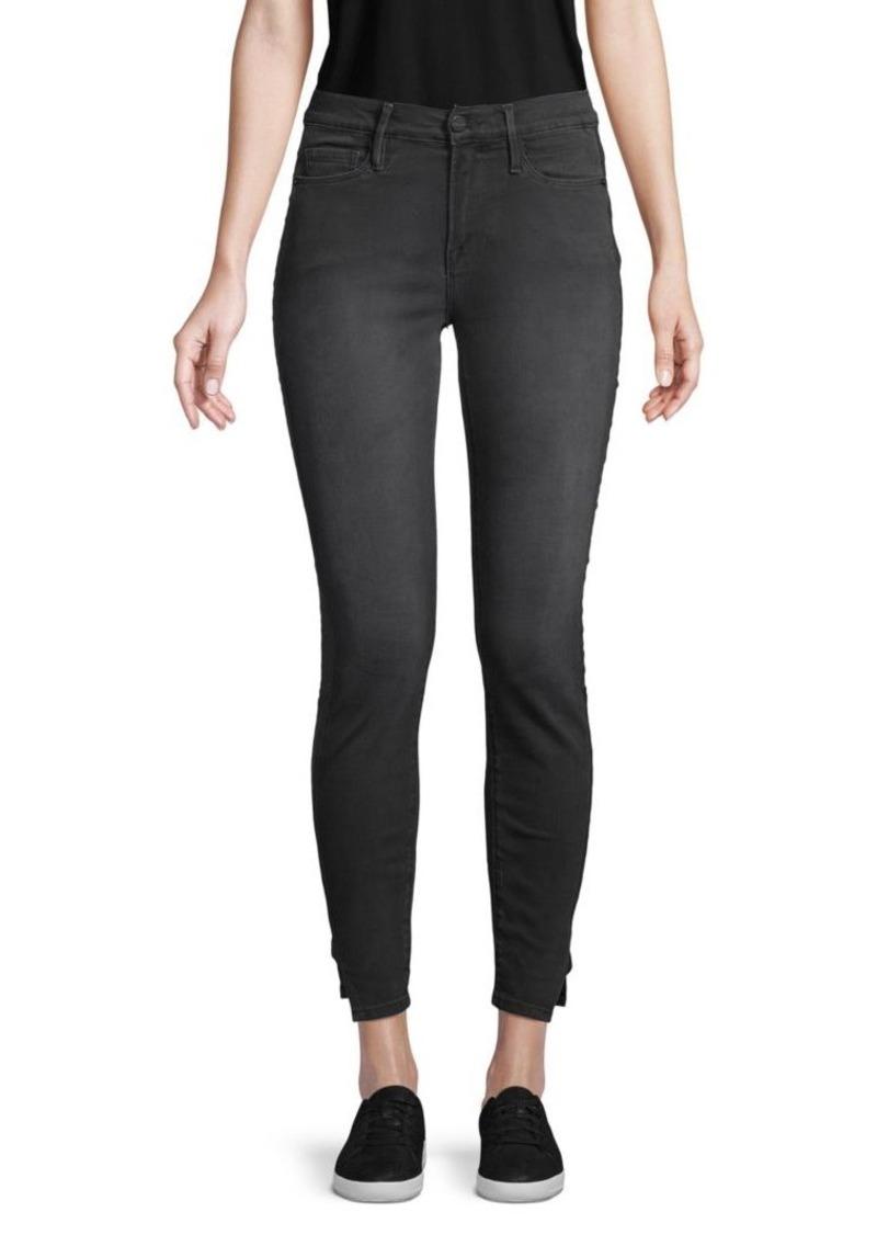 FRAME Le Skinny Side-Split Coated Jeans