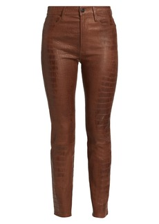 FRAME Le Sylvie Alligator Print Leather Skinny Pants